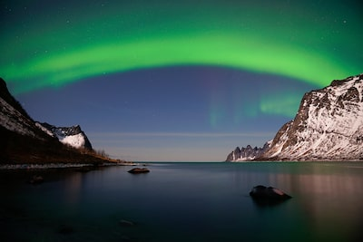 gustav-kiburg-sony-alpha-7RIII-northern-lights-above-still-ocean-in-scandinavia