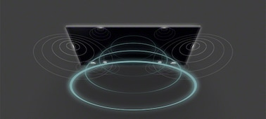 Bild, das Schallwellen des Fernsehers mit Acoustic Multi-Audio™ darstellt