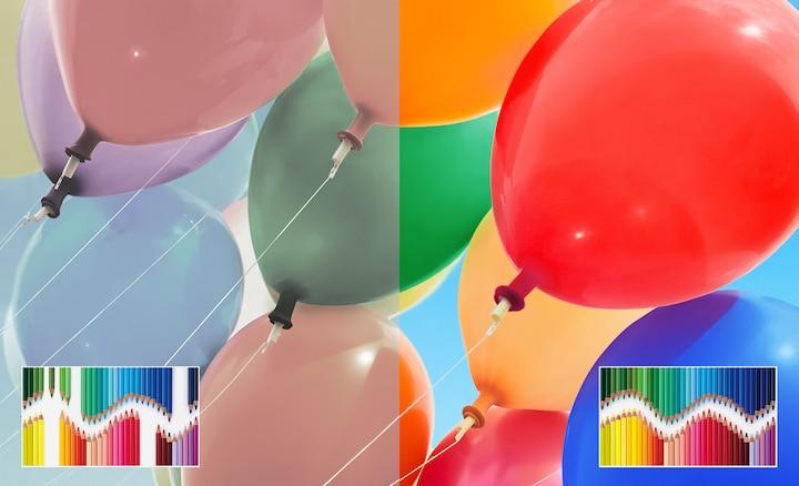 Ballons, die den großen Farbumfang mit TRILUMINOS darstellen