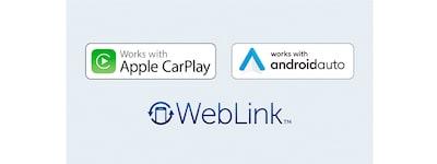 Bilder der Logos für Apple CarPlay, Android Auto und WebLink.