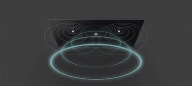 Bild, das von einem Fernseher ausgegebene Schallwellen mit Acoustic Surface Audio+ zeigt