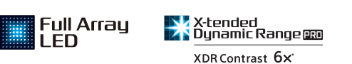 Full Array LED und X-tended Dynamic Range Logos